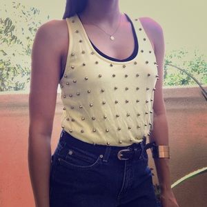 NWT Yellow tank top with gold spikes!